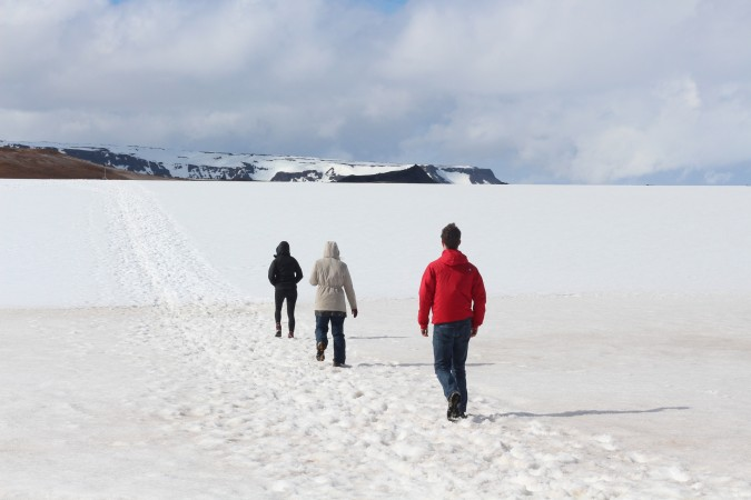 Trekking through the snow to some hot springs